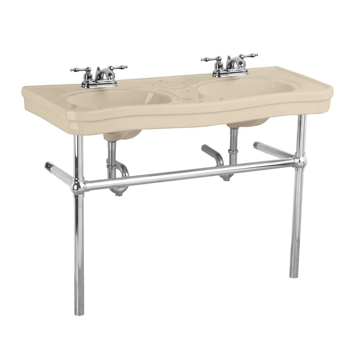 Bathroom console deluxe double sink 4 faucet bone chrome leg for Bathroom console
