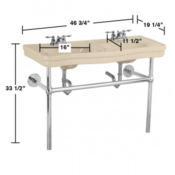 spec-<PRE>Bathroom Bone Console Sink Deluxe Double with Chrome Bistro Legs</PRE>