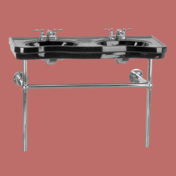 Belle Epoque Double Deluxe Black Chrome Bistro 4 in Centerset - Console Sinks, console sink info & unique accessories, quantity discounts on Console Sinks, pedestal sinks, bathroom fixtures, bathroom sinks, sink faucets & free shipping by Renovator's Supply.