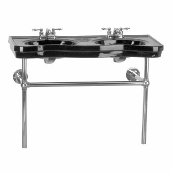 <PRE>Renovator's Supply Black Double Console Sink Glazed Finish 33inchH Chrome Stand </PRE>zoom1