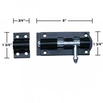 spec-<PRE>Black Wrought Iron Tower Slide Bolt 8&quot; W </PRE>
