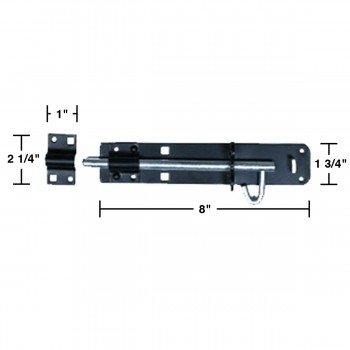 spec-<PRE>Black Wrought Iron Slide Door Brenton Bolt 8&quot; </PRE>