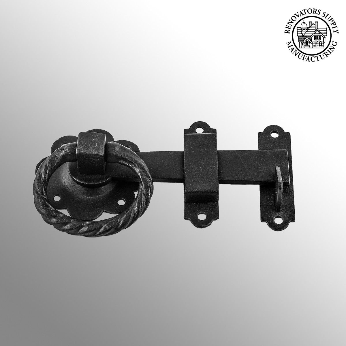 Wrought iron gate latch floral pattern black rustproof quot