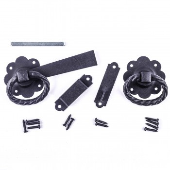 <PRE>Wrought Iron Gate Latch Floral Pattern Black Rustproof 6&quot; </PRE>