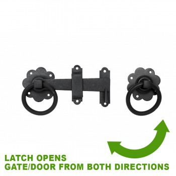 spec-<PRE>Floral Gate Latch Heavy Duty Wrought Iron 6&quot; W </PRE>