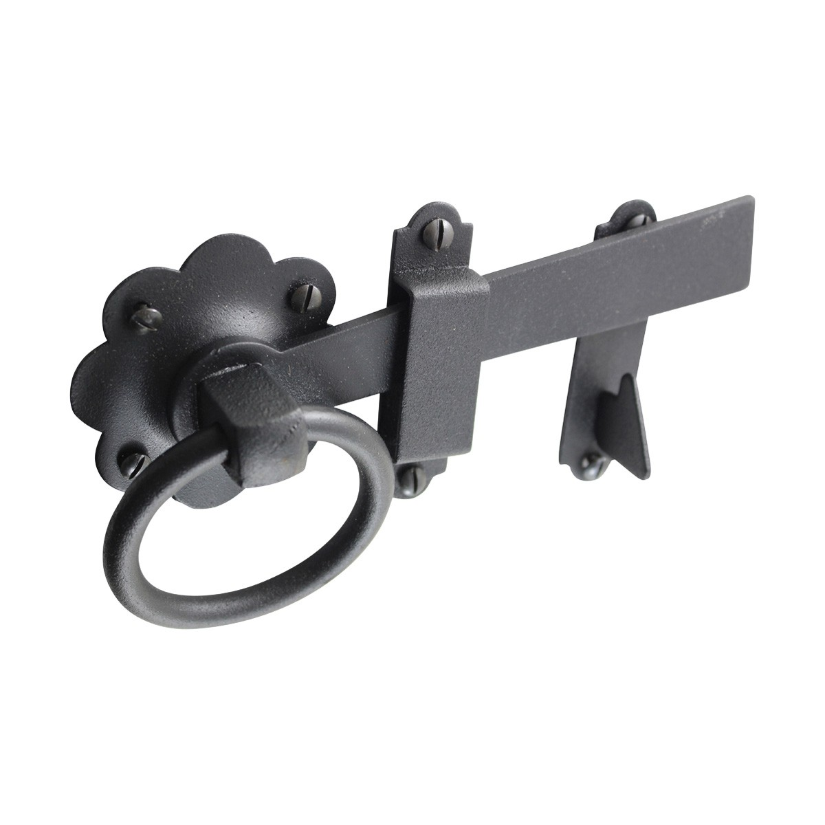 Floral Gate Latch Wrought Iron Heavy Duty Rustproof Finish 7 in W Gate Latch Rust Proof Wrought Iron Gate Latch Backyard Gate Latch
