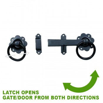 spec-<PRE>Floral Gate Latch Wrought Iron Heavy Duty Rustproof Finish 7 in W </PRE>