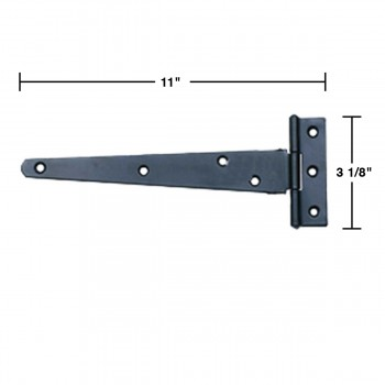 spec-<PRE>T Strap Door Hinge RSF Black Iron Light Duty Hinge 11&quot; </PRE>