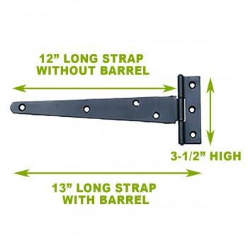 spec-<PRE>T Strap Door Hinge Black RSF Iron 13&quot; </PRE>