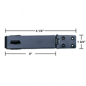 spec-<PRE>Hasp Black Iron 1 3/4&quot; H x 4 1/4&quot; W </PRE>