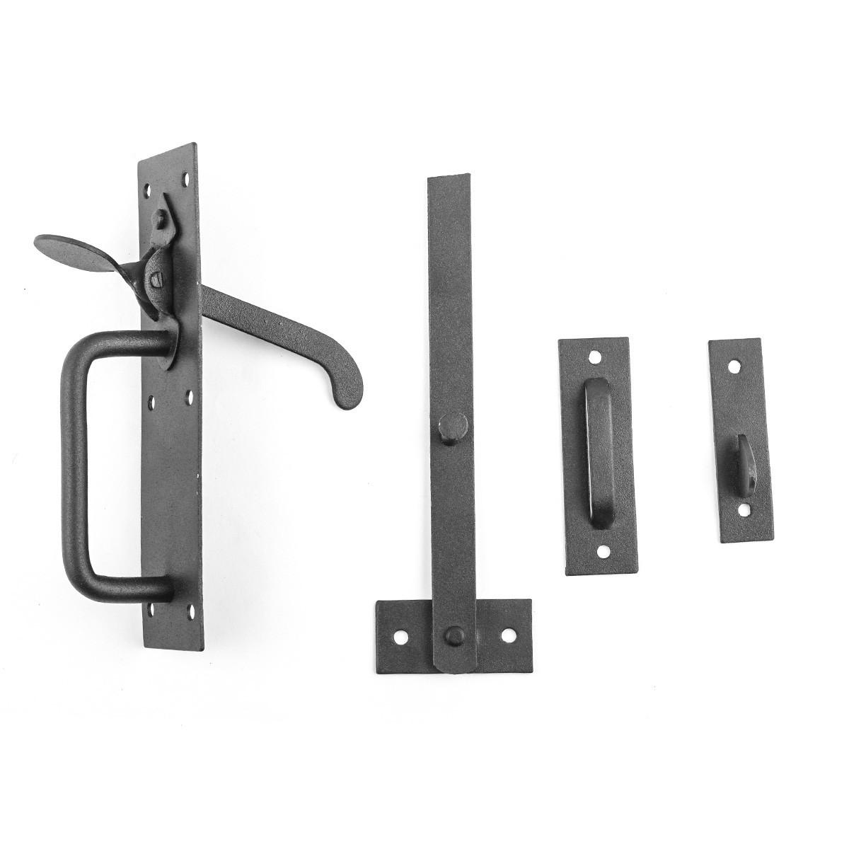 Black Iron Door Latch Lock Set Norfolk Gate or Door Gate Latch Rust Proof Wrought Iron Gate Latch Backyard Gate Latch