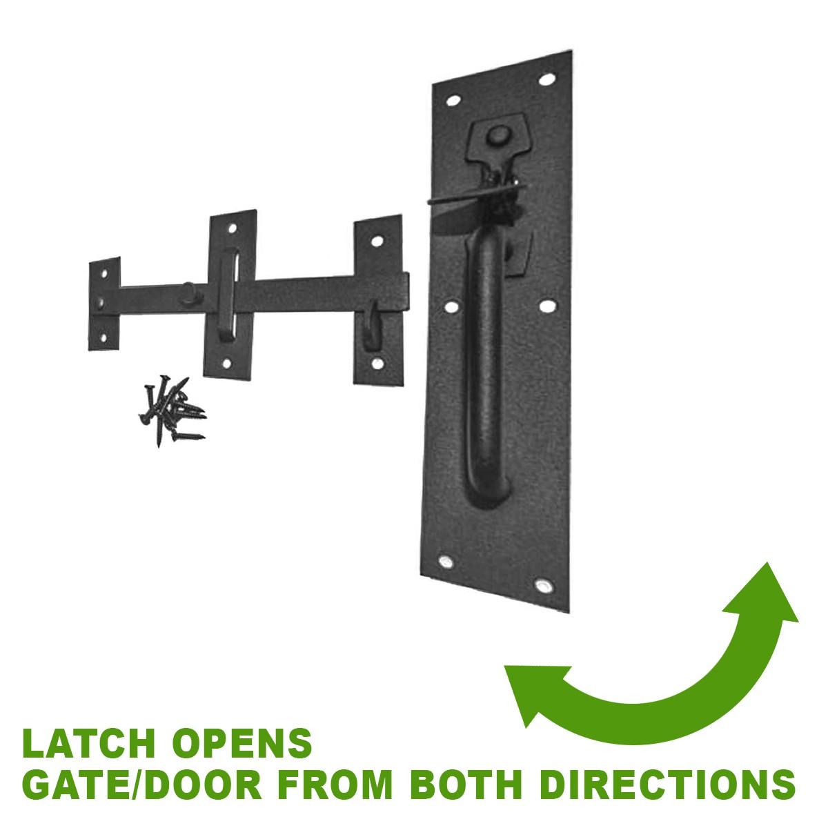<PRE>Black Iron Door Latch Lock Set Norfolk Gate or Door </PRE>