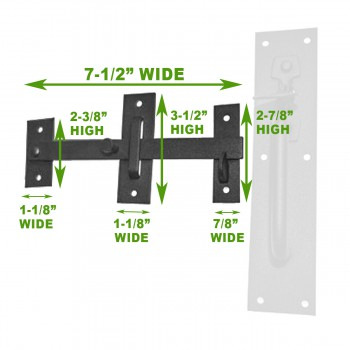 spec-<PRE>Black Iron Door Latch Lock Set Norfolk Gate or Door </PRE>