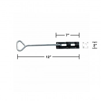 "spec-<PRE>Bow Handle Slide Door Bolt Black Wrought Iron 12"" </PRE>"