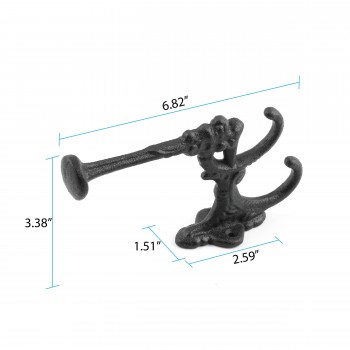 "spec-<PRE>Double Coat Hook Wrought Iron Black 7"" </PRE>"