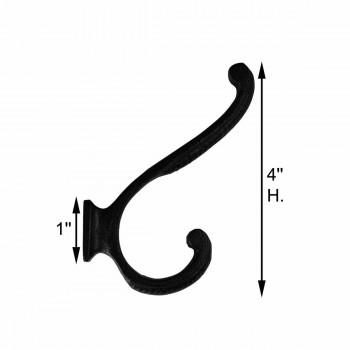 spec-<PRE>Hook Wrought Iron Black 4&quot; Double </PRE>