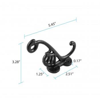 "spec-<PRE>Double Hook Wrought Iron Black 5 1/2"" </PRE>"