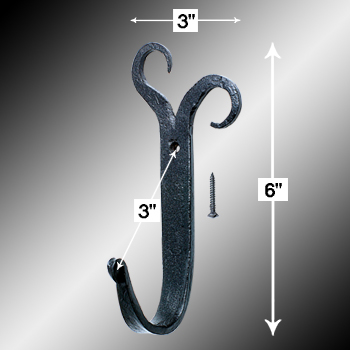 spec-<PRE>Rustic Cast Iron Wall Hook Hat Coat Black Rustproof Finish 6 in H x 3 in Proj</PRE>