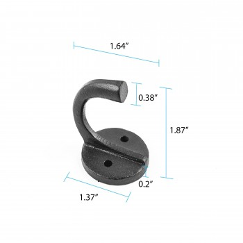 "spec-<PRE>Hook Wrought Iron Black RSF Coat 1 1/2"" X  1 3/4"" </PRE>"