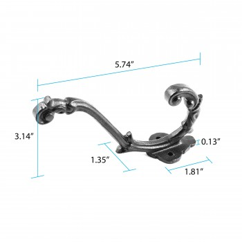 "spec-<PRE> Coat Hat Hook Decorative Black Iron Double 6 1/2"" </PRE>"