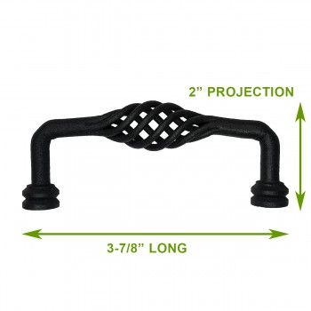 "spec-<PRE>Drawer Pull Cabinet Birdcage Black Wrought Iron 3 7/8"" </PRE>"