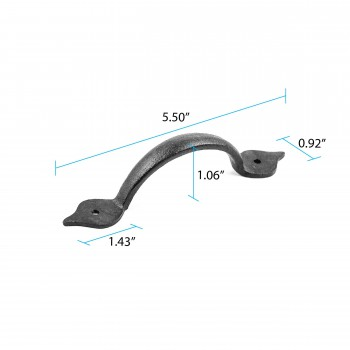 spec-<PRE>Spear Door or Drawer Pull Black Wrought Iron 5 1/2&quot; </PRE>