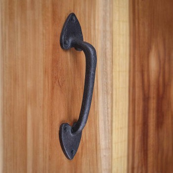<PRE>Door or Drawer Pull Heart Black Wrought Iron 7 1/2inch </PRE>zoom8