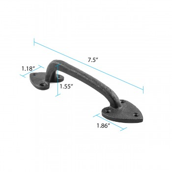 spec-<PRE>Door or Drawer Pull Heart Black Wrought Iron 7 1/2&quot; </PRE>