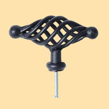 <PRE>Door or Drawer Cabinet Pull Birdcage Black Iron 3 1/2inch </PRE>zoom2