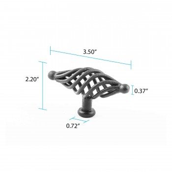 spec-<PRE>Black Cabinet Pulls Birdcage Iron Door Or Drawer Pulls Black 3 1/2 Inch</PRE>