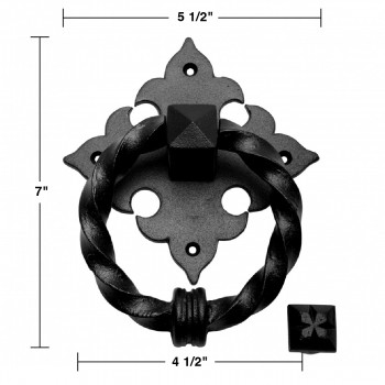 spec-<PRE>Black Door Knocker Cast Iron Door Knockers for Front Door 7 Inch X 5.5 Inch</PRE>