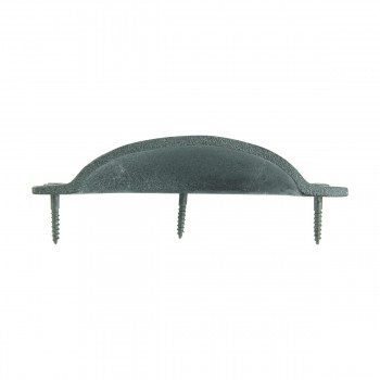 "<PRE>Cabinet or Drawer Bin Pull Black Iron Cup 4inch W x 1 3/4"" H </PRE>zoom6"