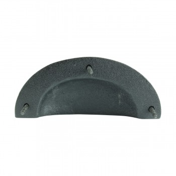 "<PRE>Cabinet or Drawer Bin Pull Black Iron Cup 4inch W x 1 3/4"" H </PRE>zoom7"