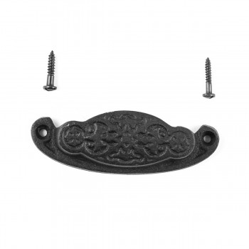 Cabinet or Drawer Bin Pull Black Iron Cup 3 34 x 1 38 H Bin Pulls Black Wrought Iron Bin Pull Cabinet Door Bin Pull