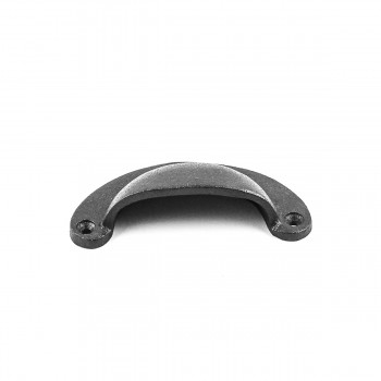 "<PRE>Cabinet or Drawer Bin Pull Black Iron Cup 3 3/4inch x 1 3/4"" H </PRE>zoom4"