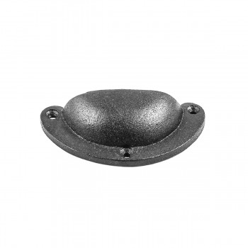 <PRE>Cabinet or Drawer Bin Pull Black Iron Cup 3 3/4inch x 1 3/4&quot; H </PRE>zoom6