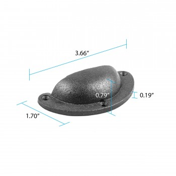spec-<PRE>Cabinet or Drawer Bin Pull Black Iron Cup 3 3/4&quot; x 1 3/4&quot; H </PRE>
