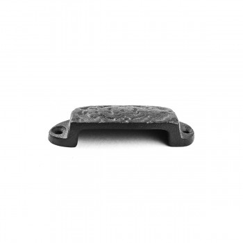 <PRE>Cabinet or Drawer Bin Pull Black Iron Cup 3 1/4inch x 1 3/16 </PRE>zoom3
