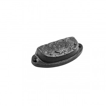 <PRE>Cabinet or Drawer Bin Pull Black Iron Cup 3 1/4inch x 1 3/16 </PRE>zoom4