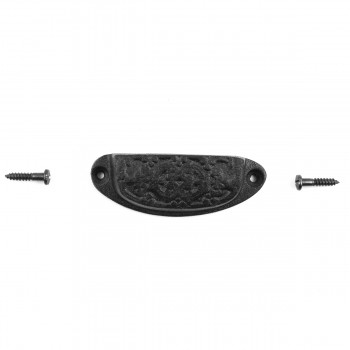 <PRE>Cabinet or Drawer Bin Pull Black Iron Cup 3 1/4inch x 1 3/16 </PRE>zoom7