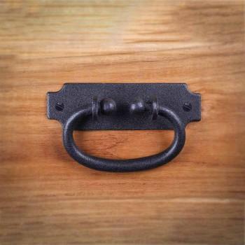 Black Drawer Pull Hepplewhite Wrought Iron Rustproof Finish 5.25 in W Wrought Iron Drawer Pulls Black Drawer Pulls Antique Drawer Pulls For Cabinets