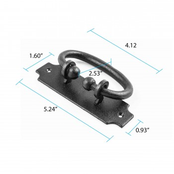 spec-<PRE>Black Drawer Pull Hepplewhite Wrought Iron Rustproof Finish 5.25 in W</PRE>