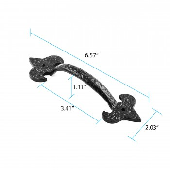 spec-<PRE>Door or Drawer Pull Black Wrought Iron Fleur de Lis 6 1/2'' </PRE>