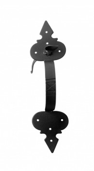 <PRE>Door Latch Set Wrought Iron Exterior Door Fleur Lis 12 3/4inch </PRE>zoom8
