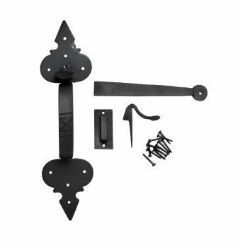 <PRE>Door Latch Set Wrought Iron Exterior Door Fleur Lis 12 3/4inch </PRE>zoom1