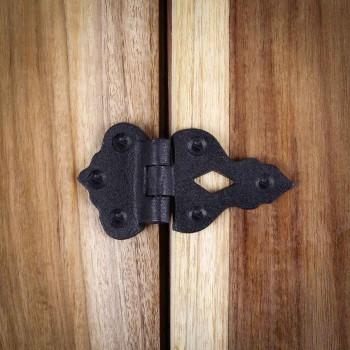 <PRE> Hoosier Cabinet Hinge 3/8''Offset Wrought Iron 3 1/2'' W </PRE>zoom8