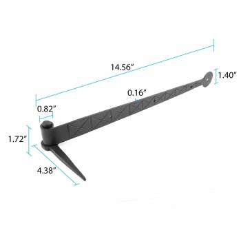 "spec-<PRE>Bean Diamond Etch Pintle Door Strap Hinge Iron 14"" </PRE>"