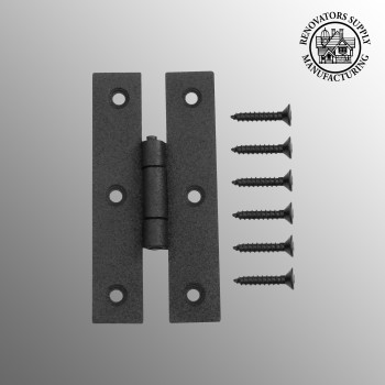 Door Hinges - H Flush Hinge Wrought Iron 3 inch by the Renovator's Supply