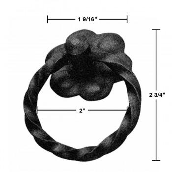 spec-<PRE>Ring Pull Cabinet Drawer Door Wrought Iron Black 2&quot; diameter </PRE>