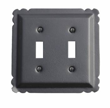 Switchplate Black Steel Double Toggle 15765grid